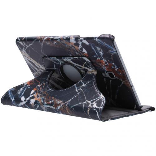 360° Draaibare Design Bookcase Samsung Galaxy Tab A 10.5 (2018) - Zwart Marmer