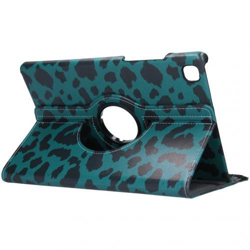 360° Draaibare Design Bookcase voor de Galaxy Tab A7 - Groen Luipaard
