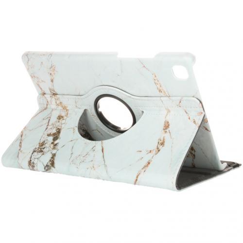 360° Draaibare Design Bookcase voor de Galaxy Tab A7 - Wit Marmer