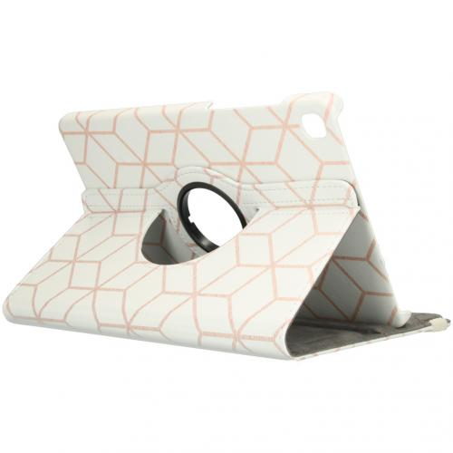 360° Draaibare Design Bookcase voor de Galaxy Tab S6 Lite - Cubes Rose Gold