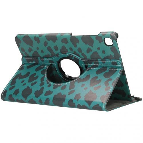 360° Draaibare Design Bookcase voor de Galaxy Tab S6 Lite - Green Leopard