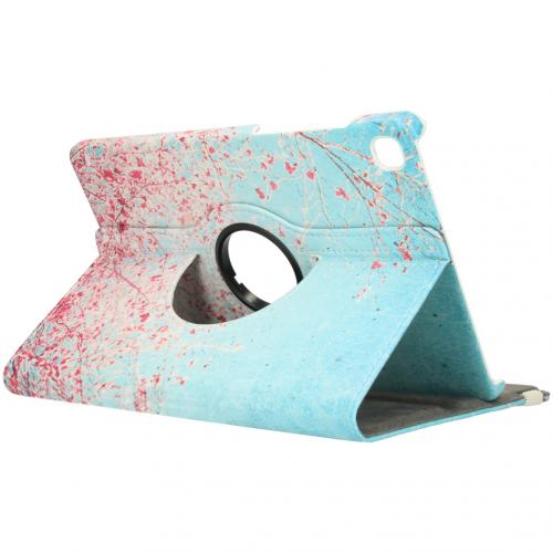 360° Draaibare Design Bookcase voor de Galaxy Tab S6 Lite - Roze Bloesem