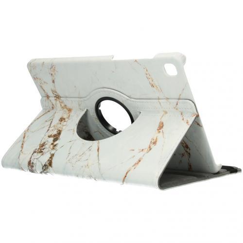 360° Draaibare Design Bookcase voor de Galaxy Tab S6 Lite - White Marble