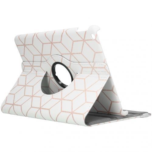 360° Draaibare Design Bookcase voor de iPad 10.2 (2019) - Cubes Rose Gold