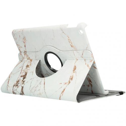 360° Draaibare Design Bookcase voor de iPad 10.2 (2019) - Wit Marmer