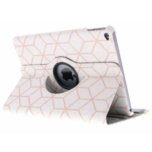 360° Draaibare Design Bookcase voor iPad Air 2 - Cubes Rose Gold