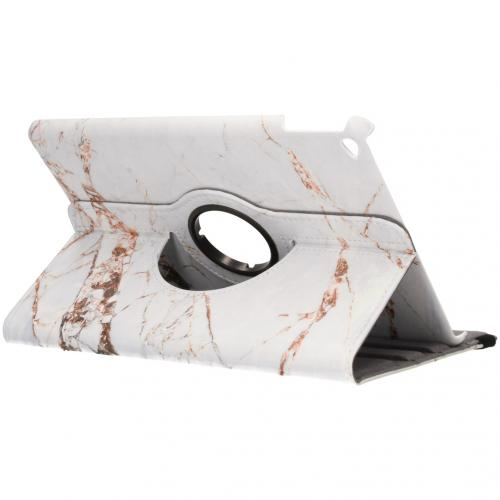 360° Draaibare Design Bookcase voor iPad Air 2 - Wit Marmer