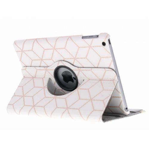 360° Draaibare Design Bookcase voor iPad Air - Cubes Rose Gold