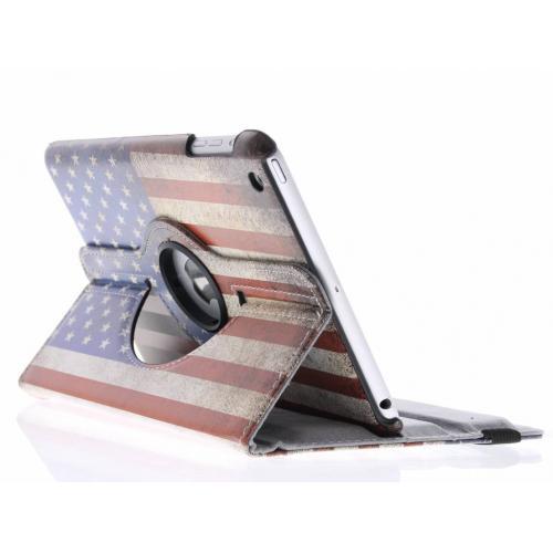 360° Draaibare Design Bookcase voor iPad Mini / 2 / 3 - Amerikaanse Vlag