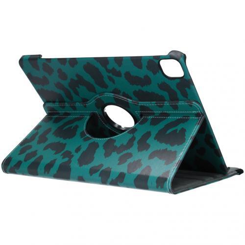 360° Draaibare Design Bookcase voor iPad Pro 12.9 (2020) - Groen Luipaard