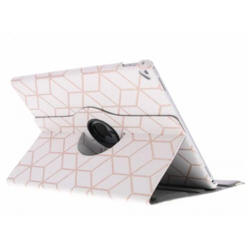 360° Draaibare Design Bookcase voor iPad Pro 12.9 - Cubes Rose Gold