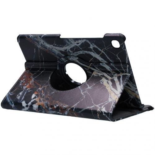 360° Draaibare Design Bookcase voor Samsung Galaxy Tab S5e - Zwart Marmer