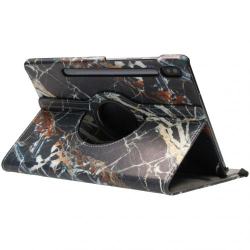 360° Draaibare Design Bookcase voor Samsung Galaxy Tab S6 - Zwart Marmer