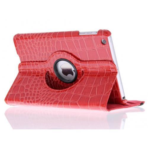 360° Draaibare krokodil Bookcase voor iPad Mini / 2 / 3 - Rood