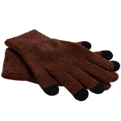 Bruine effen touchscreen handschoenen