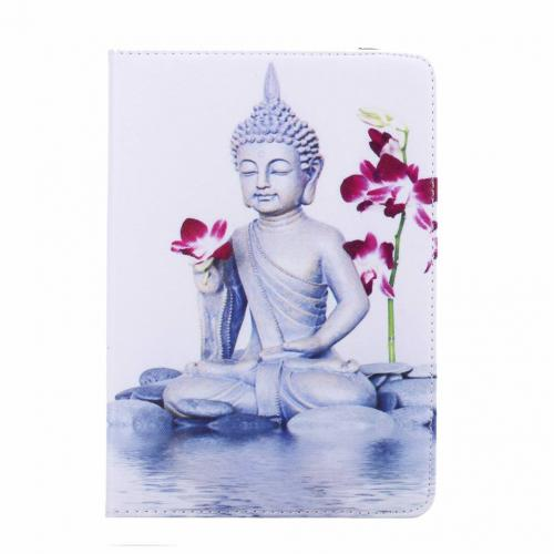 Buddha print lederen roterende hoes