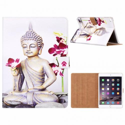 Buddha print lederen standaard hoes  Wit