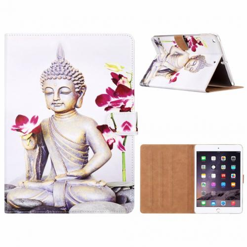 Buddha print lederen standaard hoes  Wit