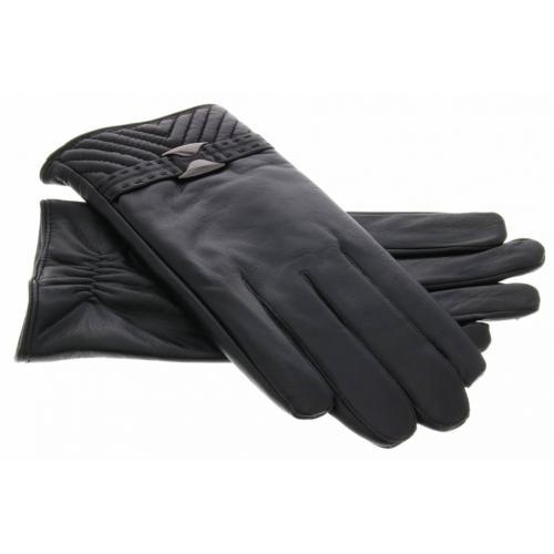 Echt lederen touchscreen handschoenen met bandje en stiksel - Maat XL