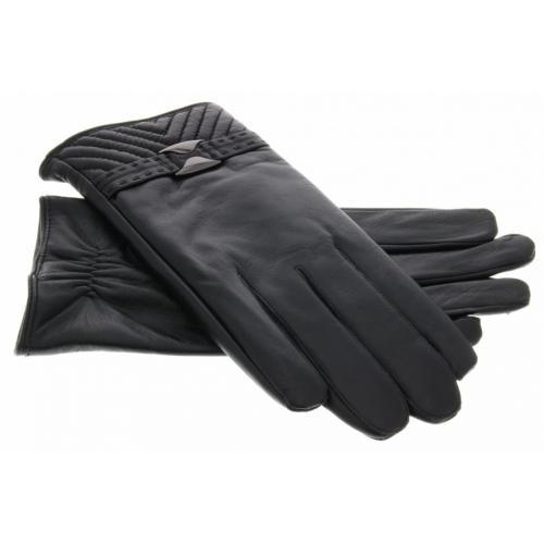 Echt lederen touchscreen handschoenen met bandje en stiksel - Maat XXL