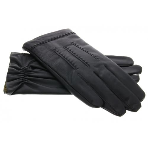 Echt lederen touchscreen handschoenen met bandje - Maat L