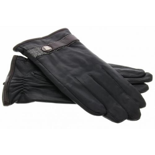 Echt lederen touchscreen handschoenen met bandje - Maat XL