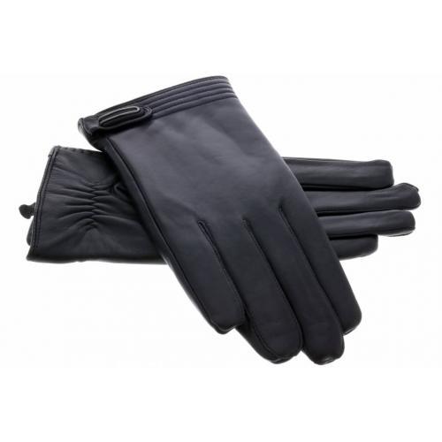 Echt lederen touchscreen handschoenen met drukknoop - Maat XL