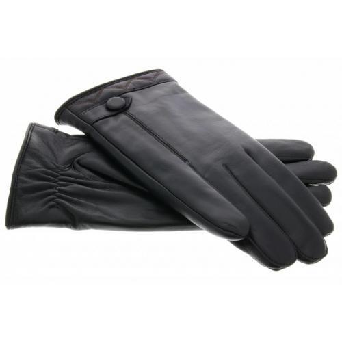 Echt lederen touchscreen handschoenen met knoop - Maat XL