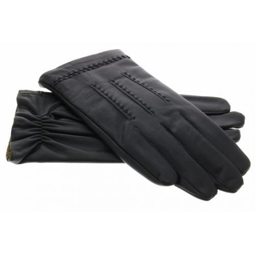 Echt lederen touchscreen handschoenen met stiksels - Maat XL