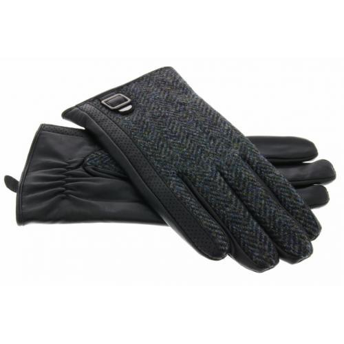 Echt lederen touchscreen handschoenen met textiel - Maat XL