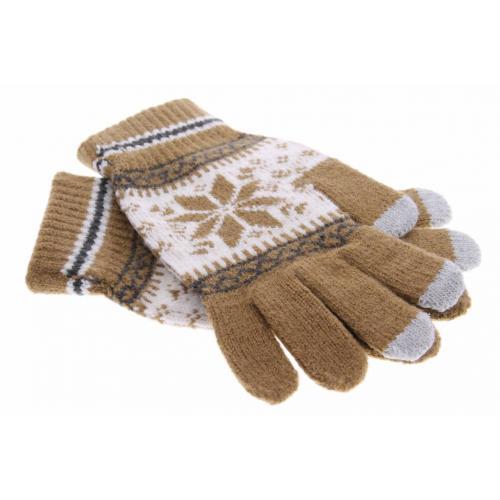 Lichtbruine Noorse touchscreen handschoenen