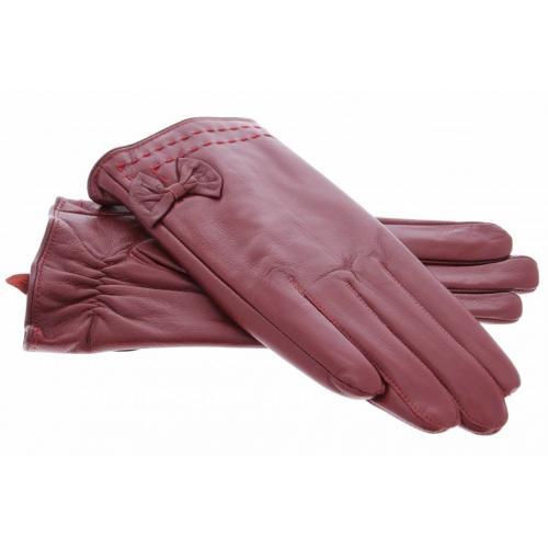 Rode Echt lederen touchscreen handschoenen - Maat M