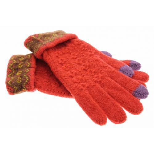 Rode gebreide touchscreen handschoenen