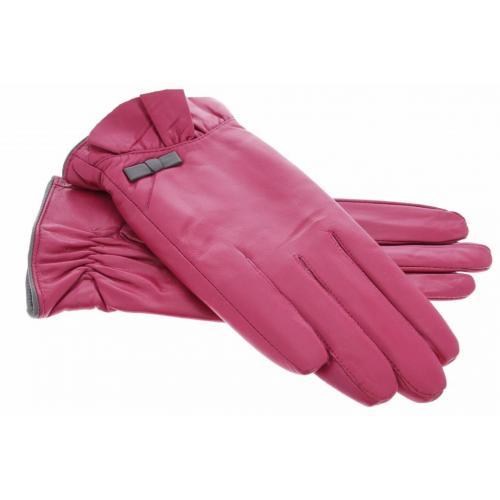 Roze echt lederen touchscreen handschoenen met sierlijke flap en strik - Maat M