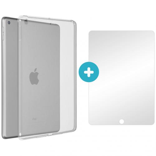Softcase Backcover + Glass Screenprotector voor de iPad (2018) / (2017) - Transparant