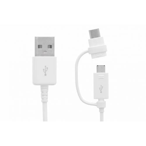 USB-C & Micro-USB naar USB-kabel 1,5 meter - Wit