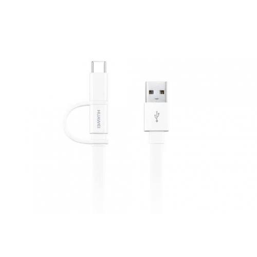 Witte Micro-USB naar USB kabel met USB-C connector - 1,5 meter