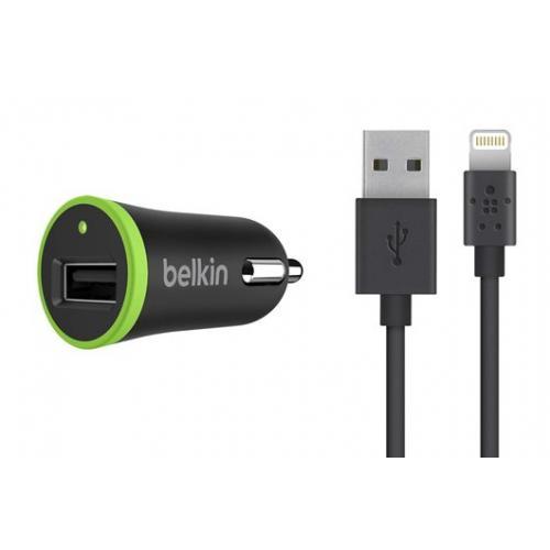 Zwarte Boost↑Up Car Charger 2,4A + Lightning naar USB-kabel
