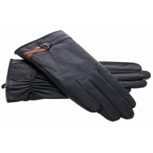 Zwarte echt lederen touchscreen handschoenen - Maat L
