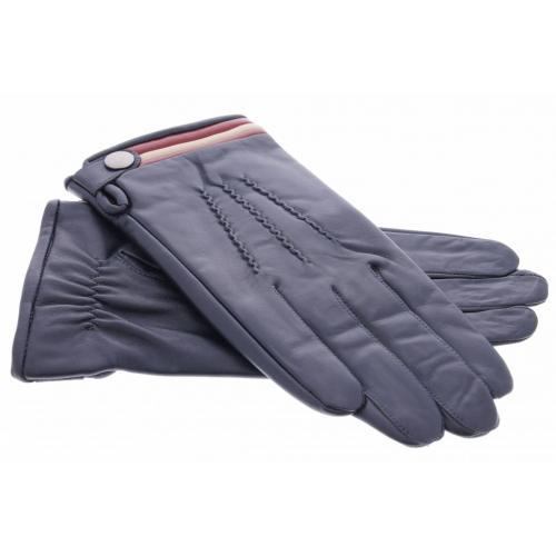 Zwarte echt lederen touchscreen handschoenen met gekleurde strepen en knoop - Maat XL