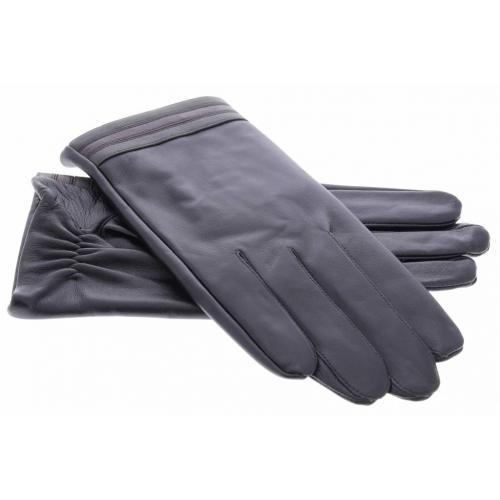 Zwarte echt lederen touchscreen handschoenen met gekleurde strepen - Maat XL