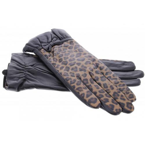 Zwarte echt lederen touchscreen handschoenen met panterprint en strik - Maat M