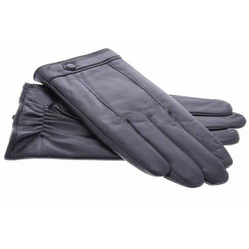 Zwarte echt lederen touchscreen handschoenen met polsriempje en knoop - Maat XL