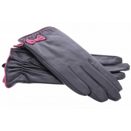 Zwarte echt lederen touchscreen handschoenen met roze strik - Maat M