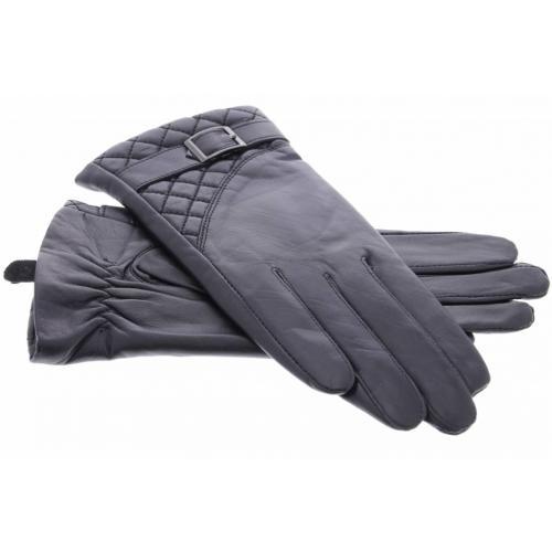 Zwarte echt lederen touchscreen handschoenen met sierlijk polsriempje en stiksel
