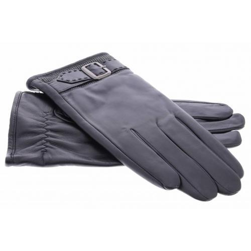 Zwarte echt lederen touchscreen handschoenen met sierlijk polsriempje - Maat XL