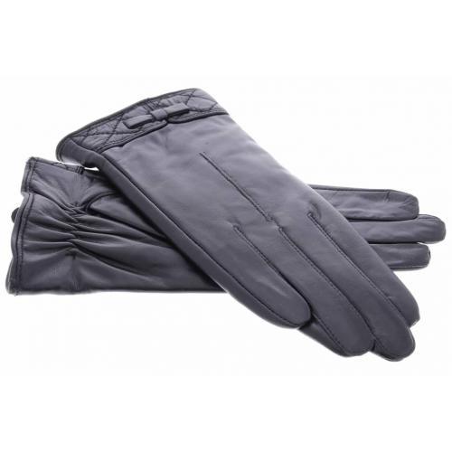 Zwarte echt lederen touchscreen handschoenen met sierlijk stikwerk en strik - Maat M