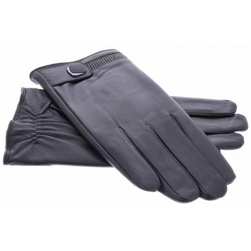 Zwarte echt lederen touchscreen handschoenen met sierlijke drukknoopsluiting