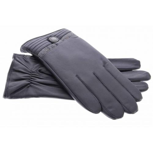 Zwarte echt lederen touchscreen handschoenen met stoffen afwerking en knoop - Maat XL