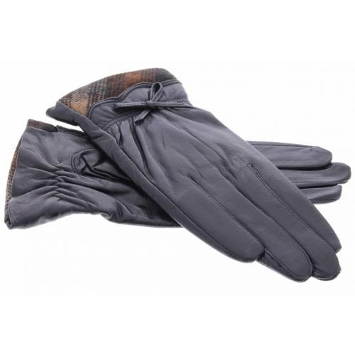 Zwarte echt lederen touchscreen handschoenen met stoffen afwerking en strik - Maat M
